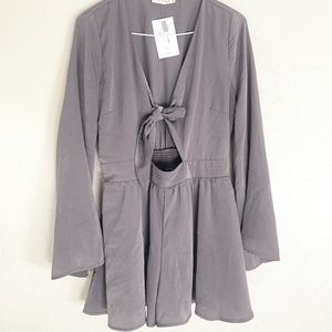 Tie Front Bell Sleeve Romper - Size M